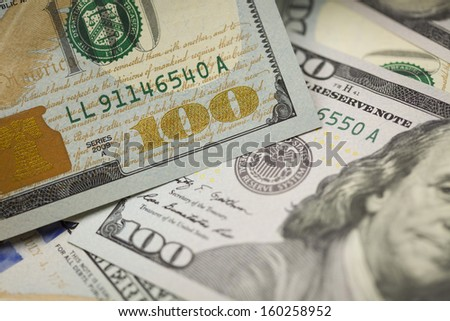 Abstract Detail of the Newly Design U.S. One Hundred Dollar Bill. - stock photo