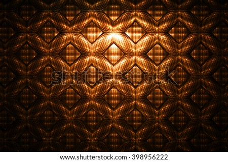 Abstract detailed geometrical ornament on black background. Fantasy fractal texture. - stock photo