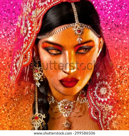 Abstract digital art of Indian or Asian woman's face, close up with colorful veil. An oil paint effect and glowing lights are added for a more modern art look and feel to this beauty and fashion scene - stock photo