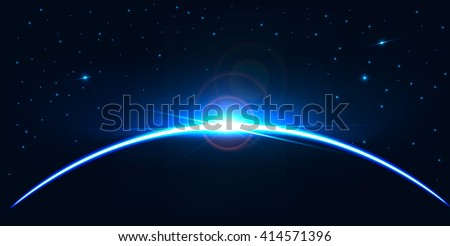 Abstract digital background . realistic rays and highlights ,wallpaper , space template. Orion , earth . Eclipse on space background . Constellation illustration . Galaxy illustration - stock photo