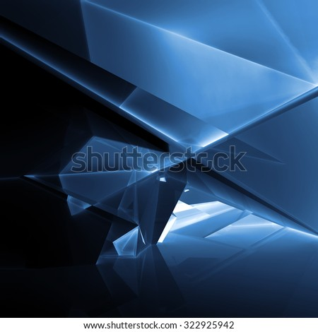 Abstract digital background with dark blue illuminated polygonal structure, 3d illustration - stock photo