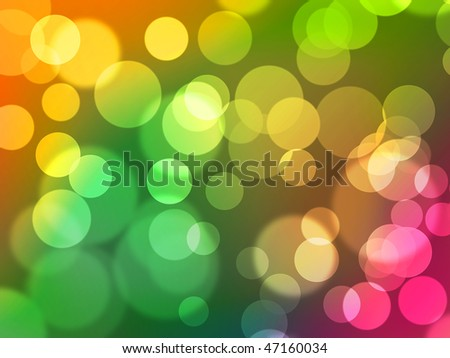Abstract digital bokeh background with light spheres and colourful gradient