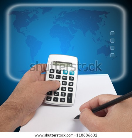 abstract digital concept with hand calculator - stock photo