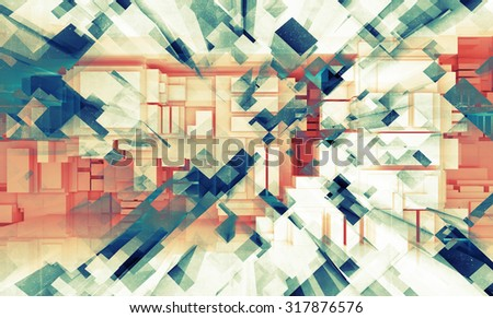 Abstract digital 3d background texture with cubic pattern and old concrete texture - stock photo