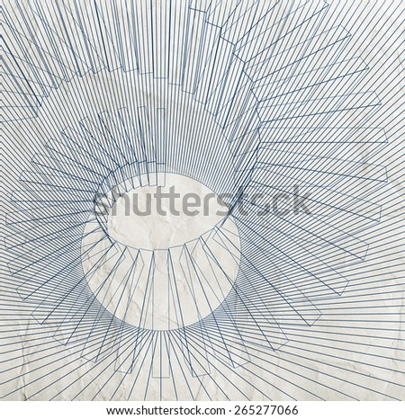 Abstract digital 3d illustration with black wire-frame spiral structure on old paper texture - stock photo
