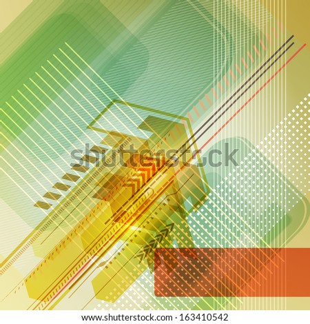 Abstract digital design with arrows. Raster version. - stock photo