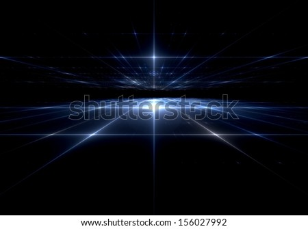 Abstract digital fractal blue  art on the black background - stock photo