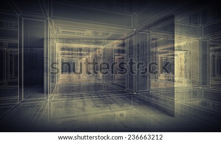 Abstract digital interior 3d background with perspective wire-frame view of dark corridor - stock photo