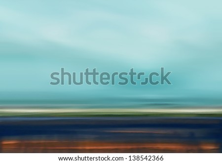 Abstract Digital Landscape with Beach, Sky, Clouds and Ocean in Blue and Brown Colors - stock photo