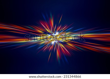 Abstract digital lights background, colorful light rays on dark blue background, festive firework, new year holidays celebration concept - stock photo