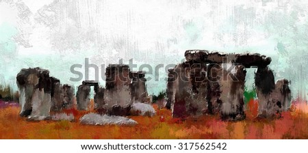 abstract digital painting of stonehenge, oil on canvas texture - stock photo