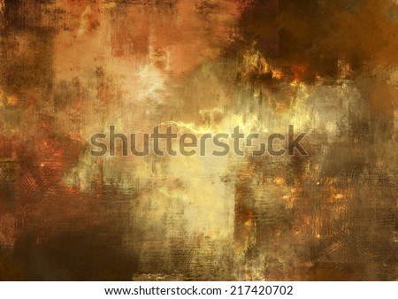 Abstract digital painting  of textured background in old gold and brown  colors - stock photo