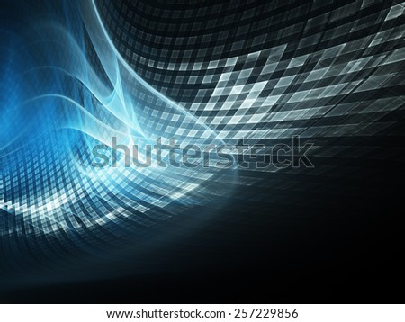 Abstract digital technology background. Blue over black.