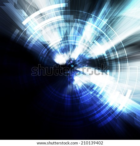 abstract digital technology, glow neon illustration background - stock photo