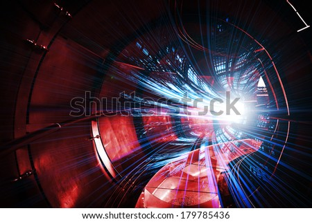 Abstract digital technology illustration with red tunnel and blue lights - stock photo