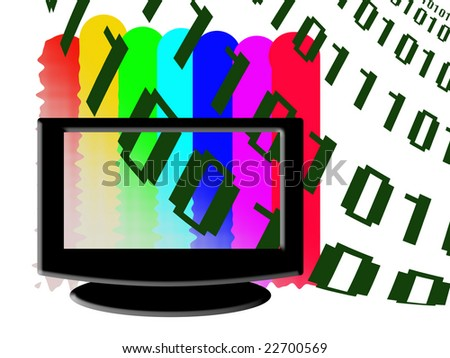 Abstract digital television illustration, color raster graphic