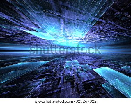 Abstract digitally generated blue technology background with the horizon, reflection and perspective - stock photo