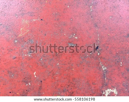 Abstract Dirty Red Scratch Paint Concrete Floor Texture And Background