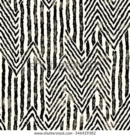 Abstract distressed striped zigzag motif. Seamless pattern. - stock photo