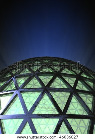 abstract dome with green glass and a blue noise background - stock photo