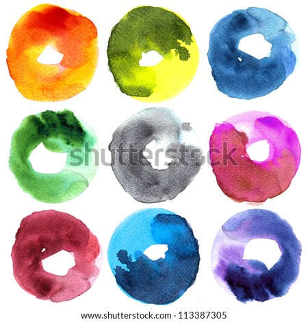 Abstract donut watercolor : illustration collection for graphic.