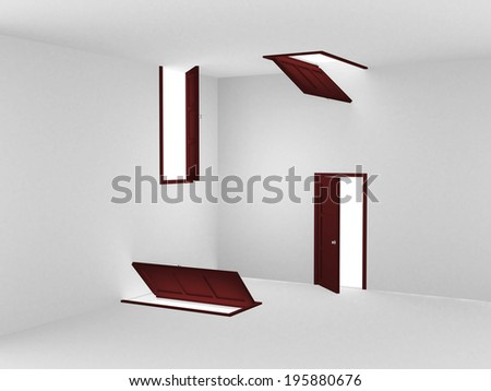 abstract doors. This is 3d render illustration - stock photo