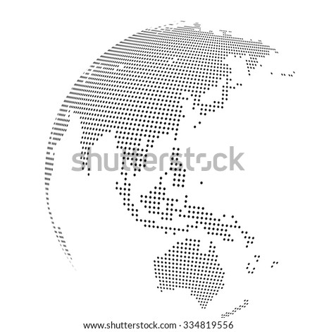 Abstract dotted globe, Central heating view on Australia and New Zealand - stock photo