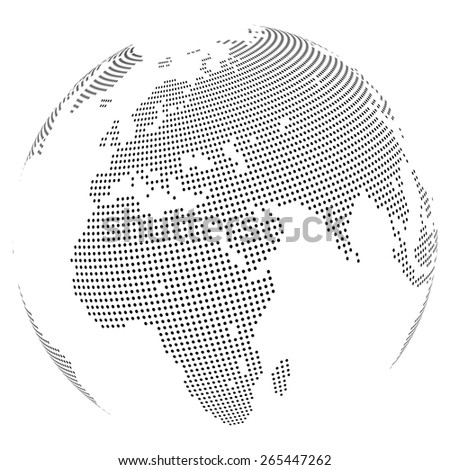Abstract dotted globe, Central heating view on Europe and Africa - stock photo