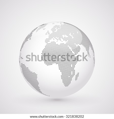 Abstract dotted globe, Central views of Africa - stock photo