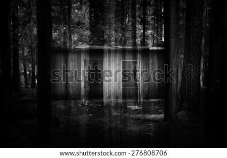 abstract double exposure horror background with ruins in dark forest and ghostly shadows. Some noise added for stronger horror effect