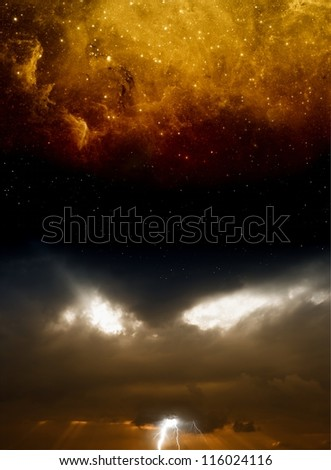 Abstract dramatic background - dark sky with lightnings and stars. Elements of this image furnished by NASA - stock photo