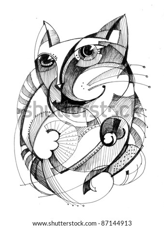 Abstract drawing black ink with unusual structure cat stock photo