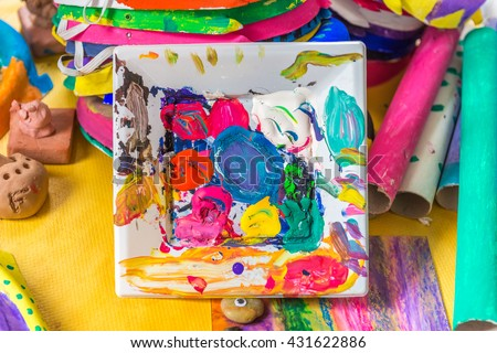abstract drawing on the canvas with oil paint - stock photo