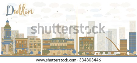 Abstract Dublin Skyline with Color Buildings, Ireland. Business travel and tourism concept with historic buildings. Image for presentation, banner, placard and web site. - stock photo