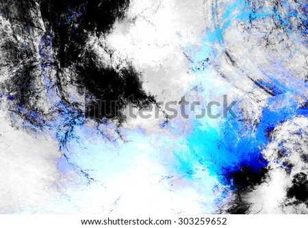Abstract dynamic background in blue, grey and white color. Futuristic bright painting texture for creativity graphic design. Cold pattern for poster, cover booklet, flyer, banner. Fractal art