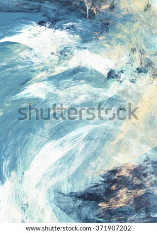 Abstract dynamic background in blue, grey and white color. Futuristic bright painting texture for creativity graphic design. Cold pattern for poster, cover booklet, banner. Fractal art
