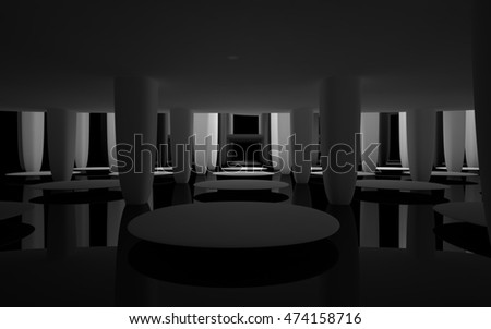 Abstract dynamic black interior with white smoth objects. 3D illustration and rendering