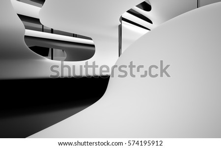 Abstract dynamic black interior with white smoth objects . 3D illustration and rendering