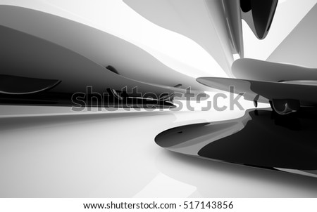 Abstract dynamic interior with black, grey, white smoth objects . 3D illustration and rendering
