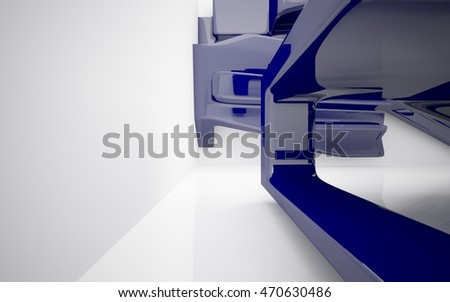 Abstract dynamic interior with blue smoth objects. 3D illustration and rendering