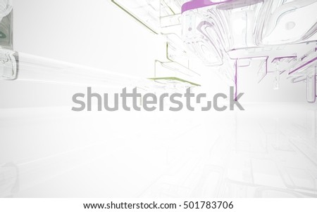 Abstract dynamic interior with pink, blue and green glass smoth objects. 3D illustration and rendering