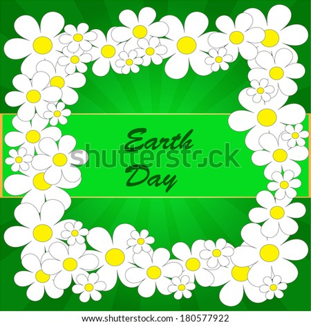 Abstract earth day background with flowers on the green phone with rays