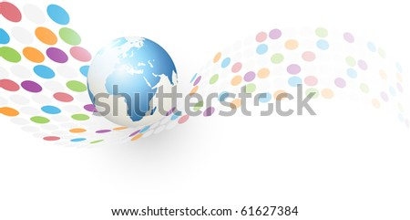 abstract earth globe background  with circles wave - stock photo