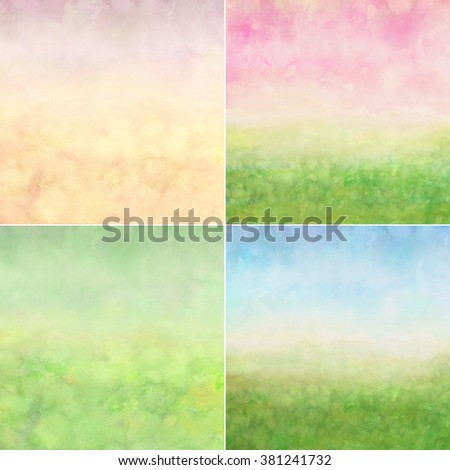 abstract easter watercolor background set, artistic hand painted canvas, paper texture - stock photo