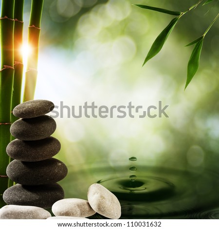Abstract eco backgrounds with bamboo and water splash - stock photo