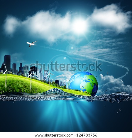 Abstract ecosystem backgrounds under the blue skies for your design - stock photo