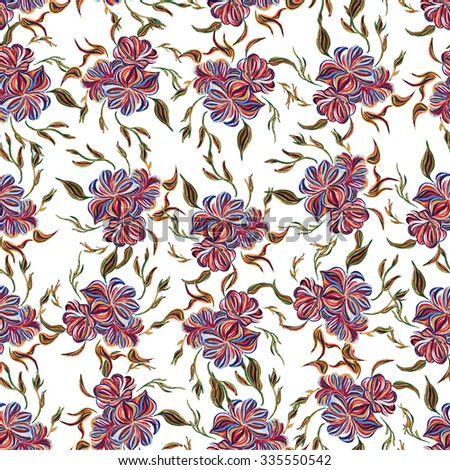 Abstract elegance seamless pattern with floral background. Hand drawn illustration in Ukrainian folk style. Ukrainian folk art. Ukrainian national motives. Raster version. - stock photo