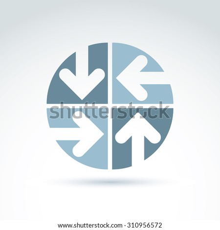Abstract emblem with four multidirectional arrows placed in sectors. Conceptual symbol, round icon. - stock photo