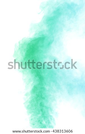 Abstract emerald green water vapor on a white background. Texture. Design elements. Abstract art. Steam the humidifier. Macro shot.