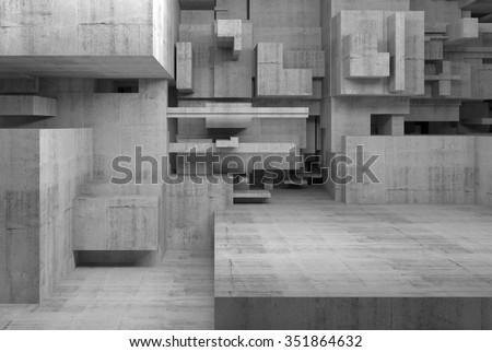 Abstract empty concrete interior with chaotic cubes constructions, high-tech concept, digital 3d illustration - stock photo